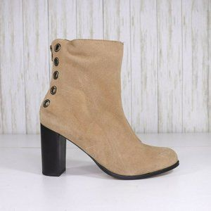 New Musse & Cloud Tan Suede Ankle Boots Size 10
